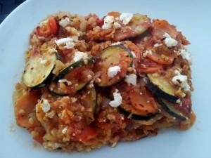 Bulgur-Gemüse-Auflauf mit Feta