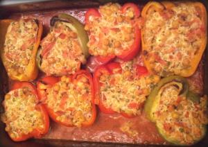 Paprika mit Kichererbsen-Käse-Füllung