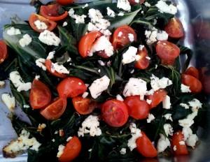 Überbackener Mangold mit Tomaten und Feta