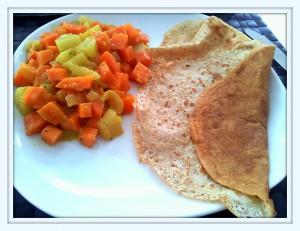 Quinoa-Pfannkuchen mit Curry-Gemüse